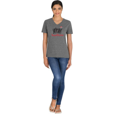 The Ladies Michigan Melange V-Neck T-Shirt is made from 145 g/m2 65% polyester, 35% cotton single jersey knit with a feminine fit available in different colours.