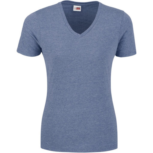 The Ladies Michigan Melange V-Neck T-Shirt in the colour blue made from 65% polyester, 35% cotton.