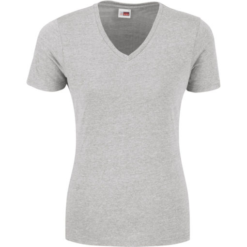 The Ladies Michigan Melange V-Neck T-Shirt in the colour grey made from 65% polyester, 35% cotton.