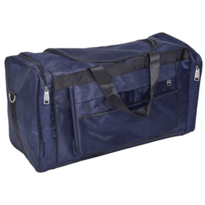 The Jupiter Tog Bag is a blue 1680D polyester tog bag with a large main zippered compartment, two side zippered compartments, a front zip compartment, two carry handles and an adjustable shoulder strap