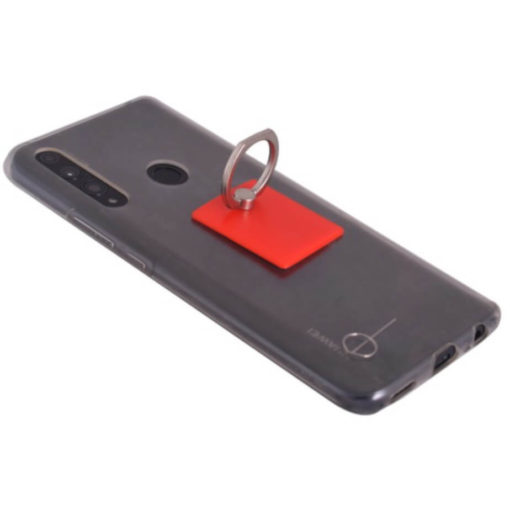 The Budget Cellphone Ring & Stand is a square red plastic mobile accessory with an adhesive backing thats designed to stcik to the back of your device as displayed. With an alloy ring to loop around your finger or rest your phone on for display surfaces