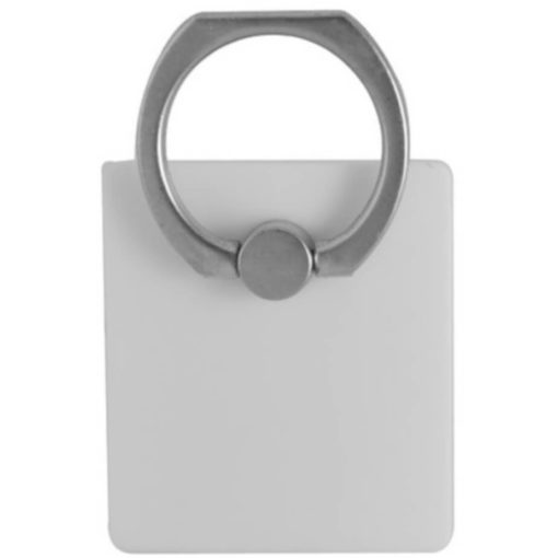 The Budget Cellphone Ring & Stand is a square white plastic mobile accessory with an adhesive backing thats designed to stcik to the back of your device. With an alloy ring to loop around your finger or rest your phone on for display surfaces