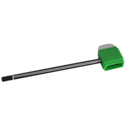 The Pencil Sharpner & eraser is a green body plastic oval tool with an eraser on one end and a sharpener in the body