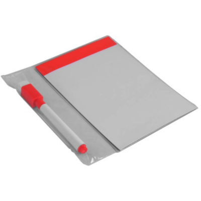 The Fridge Magnetic Board & Marker is a white rectangular whiteboard with a red trim and plastic marker with felt tip eraser and matching red tip and removable cap with a magnetic strip