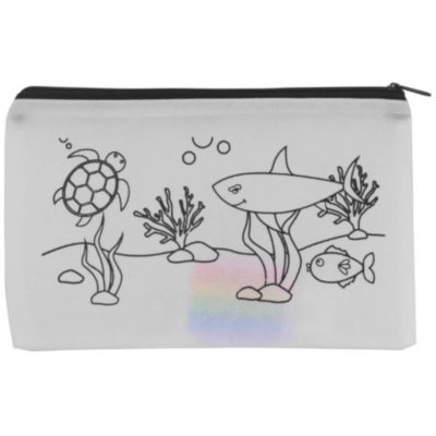 The Ocean Pencil Case & Kokis is a non-woven white pouch with a black zippered closure and an ocean themed design on the front. Includes four brightly coloured koki's