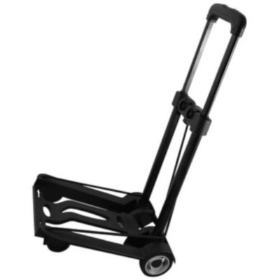 The Foldable Luggage Trolley is a black aluminium and ABS luggage trolley with retractable handle and wheels as seen from the side, with adjustable straps to tie down your luggage.