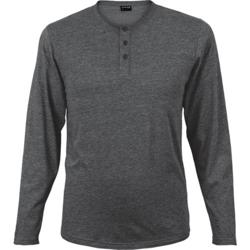 The 145g Henley Long Sleeve T-Shirt in the colour charcoal melange has overlock stitching along the neckline, hem and sleeve edges.