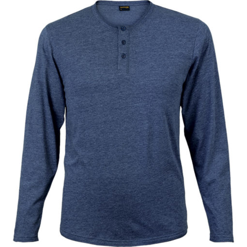 The 145g Henley Long Sleeve T-Shirt in the colour navy melange has overlock stitching along the neckline, hem and sleeve edges.