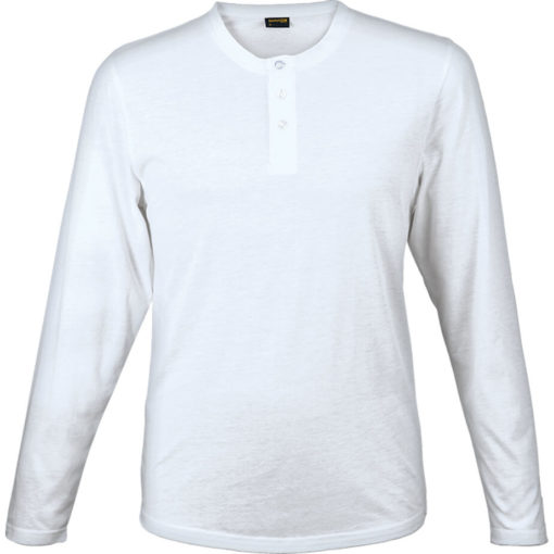 The 145g Henley Long Sleeve T-Shirt in the colour white has overlock stitching along the neckline, hem and sleeve edges.