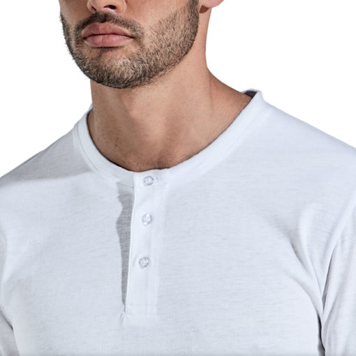 The 145g Henley Long Sleeve T-Shirt has a grown on placket with overlock stitching.