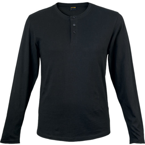 The 145g Henley Long Sleeve T-Shirt in the colour black has overlock stitching along the neckline, hem and sleeve edges.