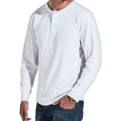 The 145g Henley Long Sleeve T-Shirt is made from 65/35 Poly-Cotton, available in neutral colours and different sizes.
