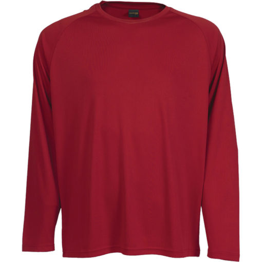 The 135g Long Sleeve Polyester T-Shirt in the colour red has a double top stitched hem, crew neck, raglan sleeves and its moisture management.
