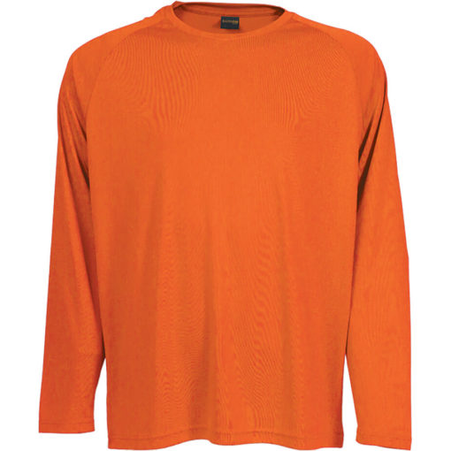The 135g Long Sleeve Polyester T-Shirt in the colour safety orange has a double top stitched hem, crew neck, raglan sleeves and its moisture management.