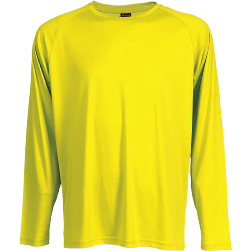 The 135g Long Sleeve Polyester T-Shirt in the colour safety yellow has a double top stitched hem, crew neck, raglan sleeves and its moisture management.