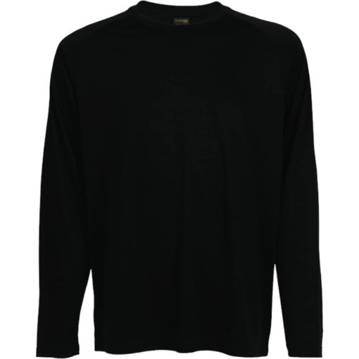 The 135g Long Sleeve Polyester T-Shirt in the colour black has a double top stitched hem, crew neck, raglan sleeves and its moisture management.