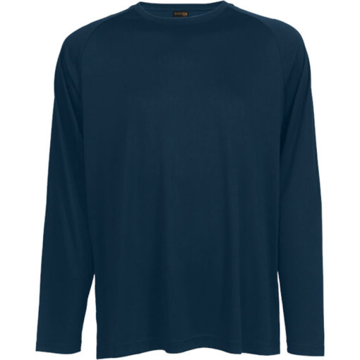 The 135g Long Sleeve Polyester T-Shirt in the colour navy has a double top stitched hem, crew neck, raglan sleeves and its moisture management.