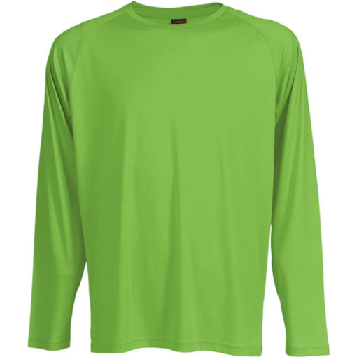 The 135g Long Sleeve Polyester T-Shirt in the colour lumo green has a double top stitched hem, crew neck, raglan sleeves and its moisture management.