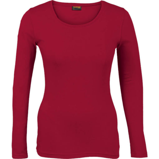 The Ladies 145g Long sleeve T-shirt comes in the colour red with a round scooped, self-fabric neckline and double needing stitching on hem and sleeves.