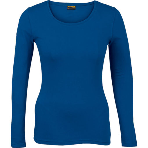 The Ladies 145g Long sleeve T-shirt comes in the colour royal blue with a round scooped, self-fabric neckline and double needing stitching on hem and sleeves.