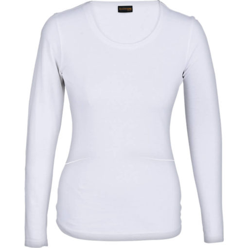 The Ladies 145g Long sleeve T-shirt comes in the colour white with a round scooped, self-fabric neckline and double needing stitching on hem and sleeves.