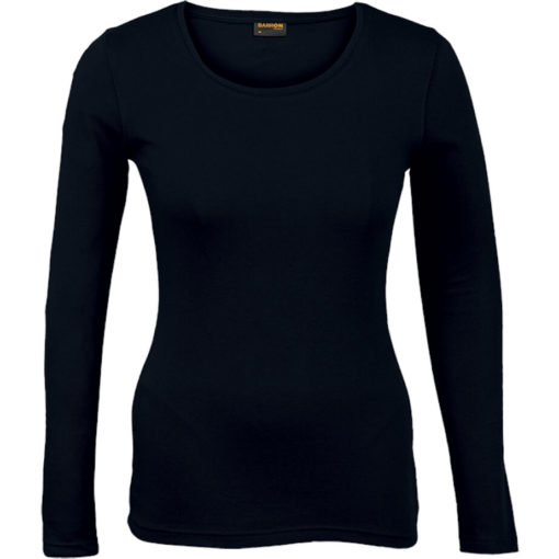 The Ladies 145g Long sleeve T-shirt comes in the colour black with a round scooped, self-fabric neckline and double needing stitching on hem and sleeves.