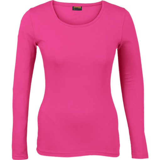 The Ladies 145g Long sleeve T-shirt comes in the colour bright pink with a round scooped, self-fabric neckline and double needing stitching on hem and sleeves.