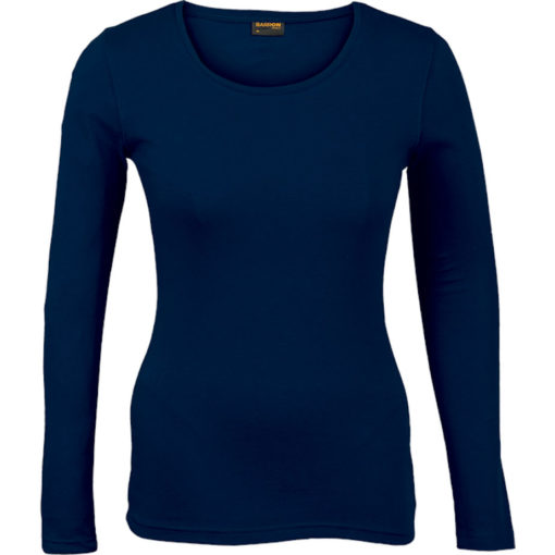 The Ladies 145g Long sleeve T-shirt comes in the colour navy with a round scooped, self-fabric neckline and double needing stitching on hem and sleeves.