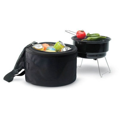 The Braai And Cooler Bag has a braai made from iron and polyester in the colour black.