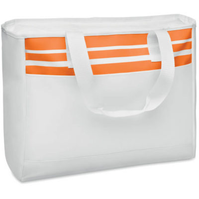 The Beach Bag with orange stripes is made from 600 denier with short carry handles made from 210 denier, in a rectangular shape with a zipper inner pocket.