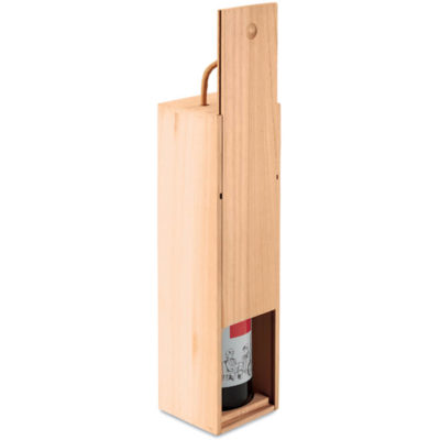 The Vinbox is made from paulownia wood with a cord handle, to hold a singular wine bottle.