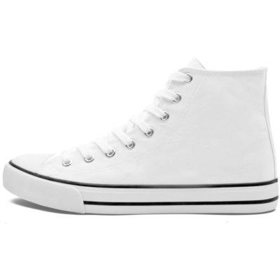 The Unisex Retro High Top Canvas Sneaker is a blended cotton and polyester white above the ankle shoe with metal eyelets, white cotton shoelaces, white rubber soles, toe cap and padded in soles