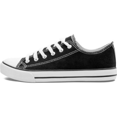 The Unisex Trendi Canvas Sneaker is a blended cotton and polyester black ankle shoe with metal eyelets, white cotton shoelaces, white rubber soles, toe cap and padded in soles
