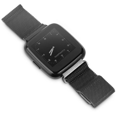 The Alex Varga Cosmonaut Smart Watch is made from plastic and zinc alloy with a strap made from thermoplastic and stainless steel.