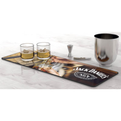 The Manoeuvre Mat is a polyester surface mat with a rubber backing for a on slip grip. Large in size and ideal for bright digital printing. Use at the bar to brighten your area and rest drinks on