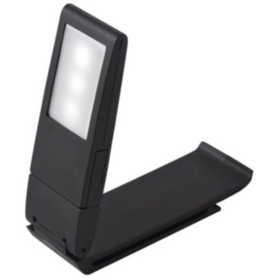 The Cellphone Stand & Book Light is a plastic device with a base to securely hold your phone and a reversible LED light with a clip to attach to your reading material