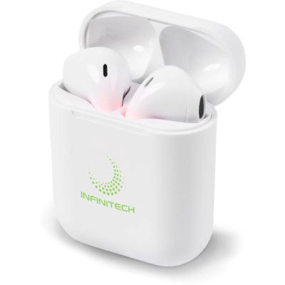 The Ignitis Tws Earbuds comes with a ABS plastic case that clips open.
