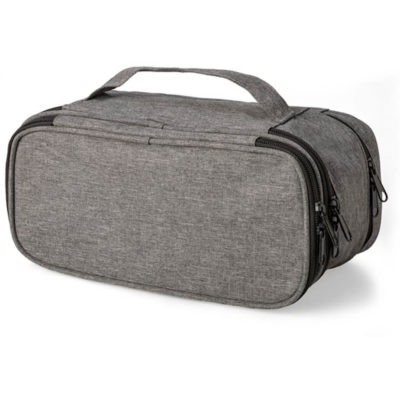 The Elite Toiletry Bag is made from 600 denier with a two toned colour, a small carry handle and many zippered compartments. Available in the colour grey.