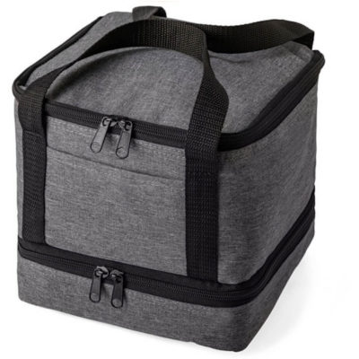 The Double Up Cooler has two carry straps and a PVC inner, and a bottom zipper compartment.