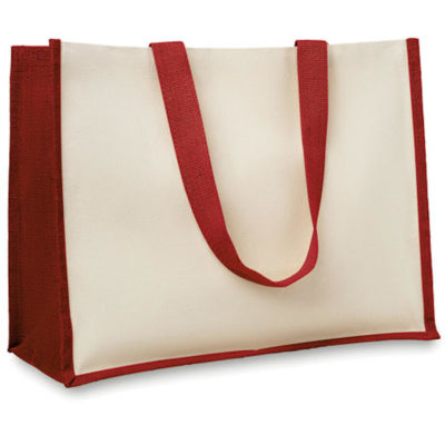 The Campo Jute Shopper has added gussets along the sides to give more space. Available in different colours to choose from.