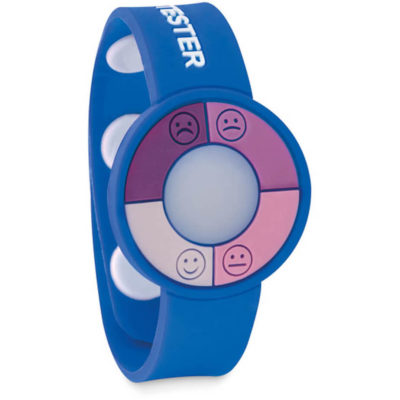 The UV Check Wrist Band in the colour blue, is made from PVC with a built in UV sensor that will determine how intense the UV rays are on the skin.