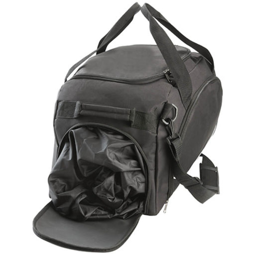 The Classic Cargo Duffel Bag has three zip compartments, double carry handles and a carry handle on the side.