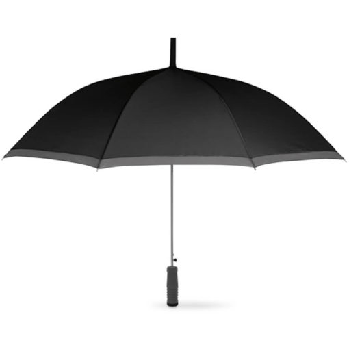 The Cardiff Pop Up Umbrella in the colour black with grey trimming and a straight grey EVA handle with a black end. Made from 190T Polyester with a zinc plating metal shaft, ribs and tips.