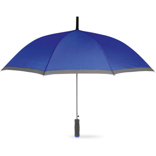 The Cardiff Pop Up Umbrella in the colour blue with grey trimming and a straight grey EVA handle with a blue end. Made from 190T Polyester with a zinc plating metal shaft, ribs and tips.