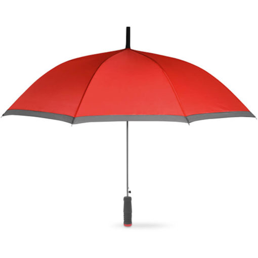 The Cardiff Pop Up Umbrella in the colour red with grey trimming and a straight grey EVA handle with a red end. Made from 190T Polyester with a zinc plating metal shaft, ribs and tips.