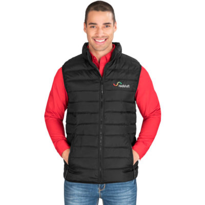 The Mens Norquay Insulated Bodywarmer is a black 100% polyester woven water resistant body warmer with a polyester lining and faux down polyester filling. Features padded and quilted outer and lining, zip pockets with branded zip pullers, chin protector, wind placket and elasticated binding on the hem and armholes