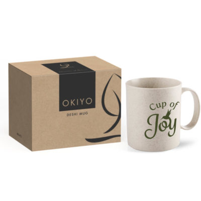 The Okiyo Deshi Wheat Straw Mug comes packed inside a gift box with the Okiyo branding.