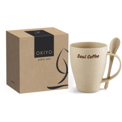The Okiyo Kawai Wheat Straw Mug Set comes packed inside a Okiyo gift box