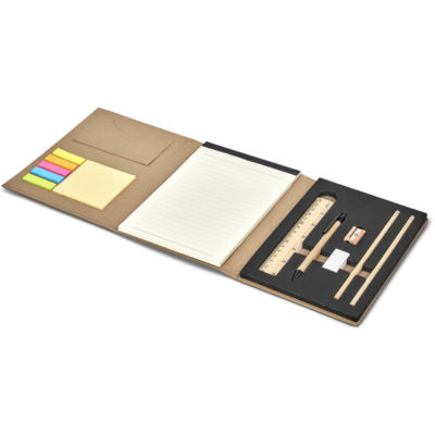 The Okiyo Minna Paper Stationery Set is a recycled Kraft paper folder that includes a stationery set. Open to display the brightly coloured sticky notes. Open to display the stationery set on one flap and sticky notes on another, with a 50 lined sheet notepad in the centre