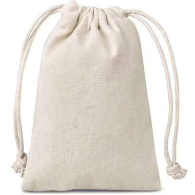 The Okiyo Chikara Cotton Mini Drawstring Pouch is made from 100% cotton, with a drawstring closure. Available in a natural tone